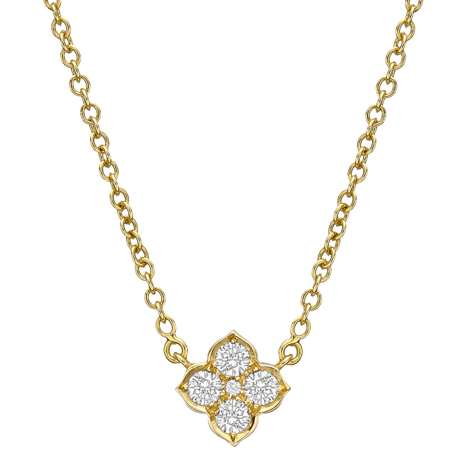 Cartier diamond clover pendant necklace betteridge diamond clover motif pendant necklace set with five round diamonds weighing approximately 061 total carats mounted in 18k yellow gold on a 165 cable aloadofball Images