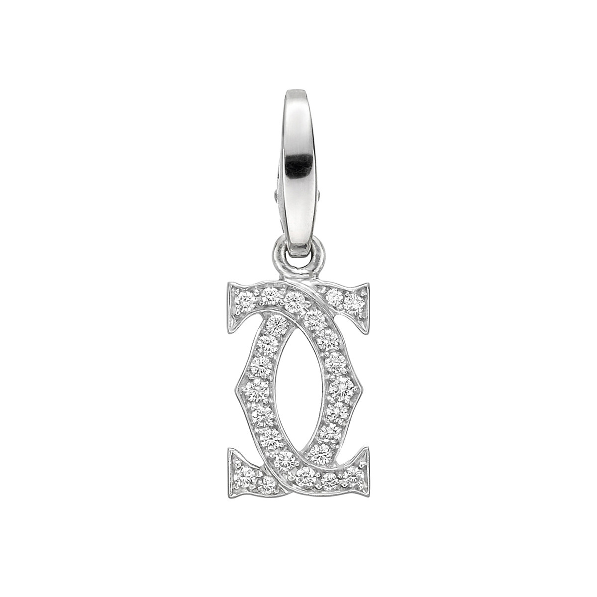 18k White Gold & Diamond Double 'C' Charm