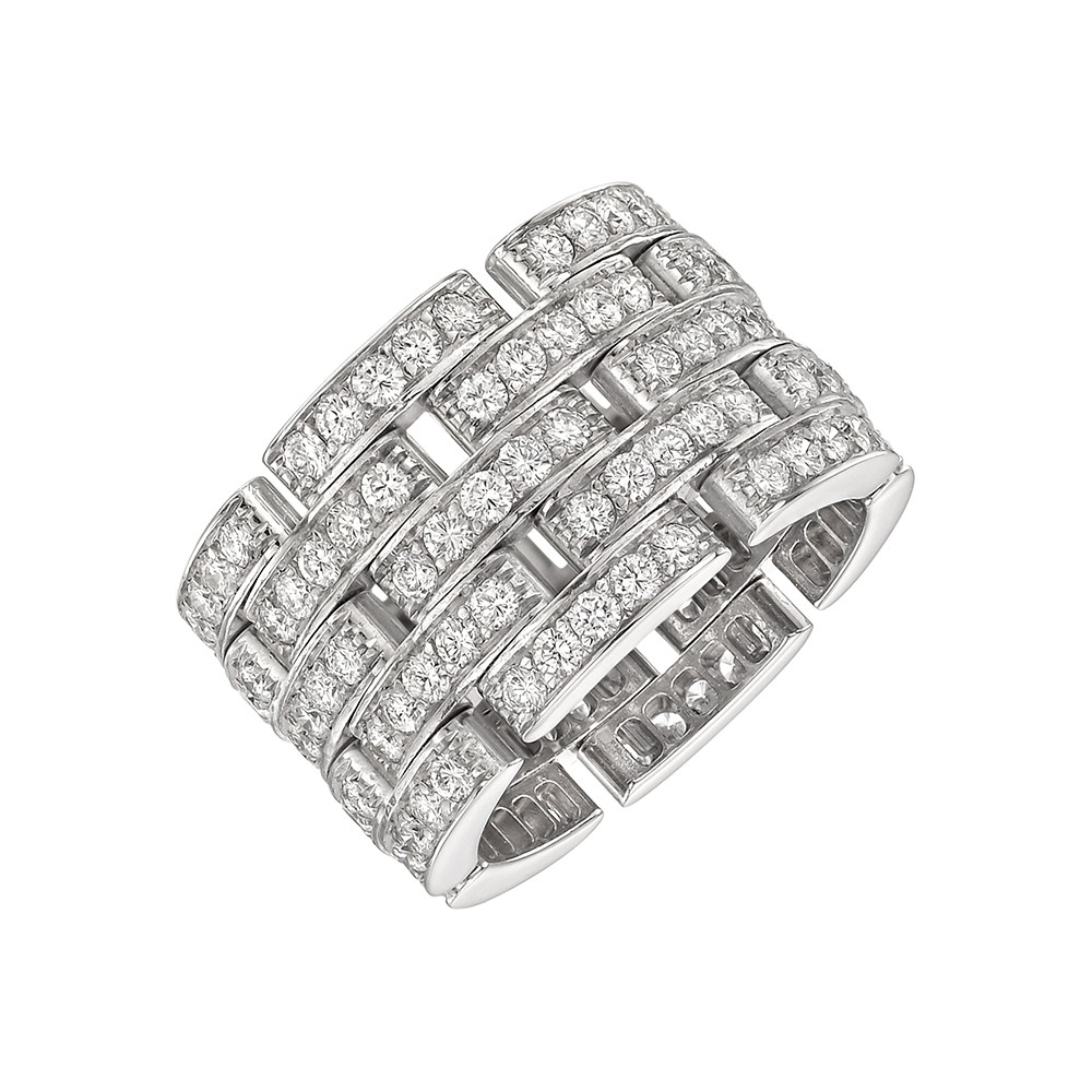 "Diamond ""Maillon Panthère"" Wide Band Ring"