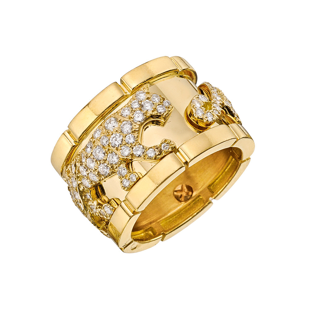 "18k Yellow Gold & Diamond ""Mahango"" Panther Band Ring"