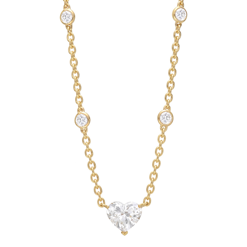 Estate cartier diamond station necklace with heart shaped diamond diamond station necklace with heart shaped diamond center aloadofball Images