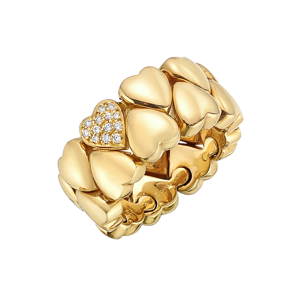 18k Yellow Gold & Diamond Double Hearts Band Ring