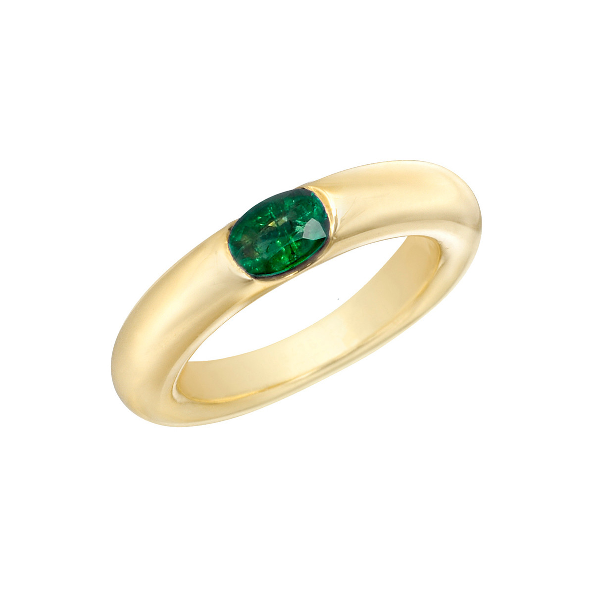 18k Yellow Gold & Emerald Gypsy Ring