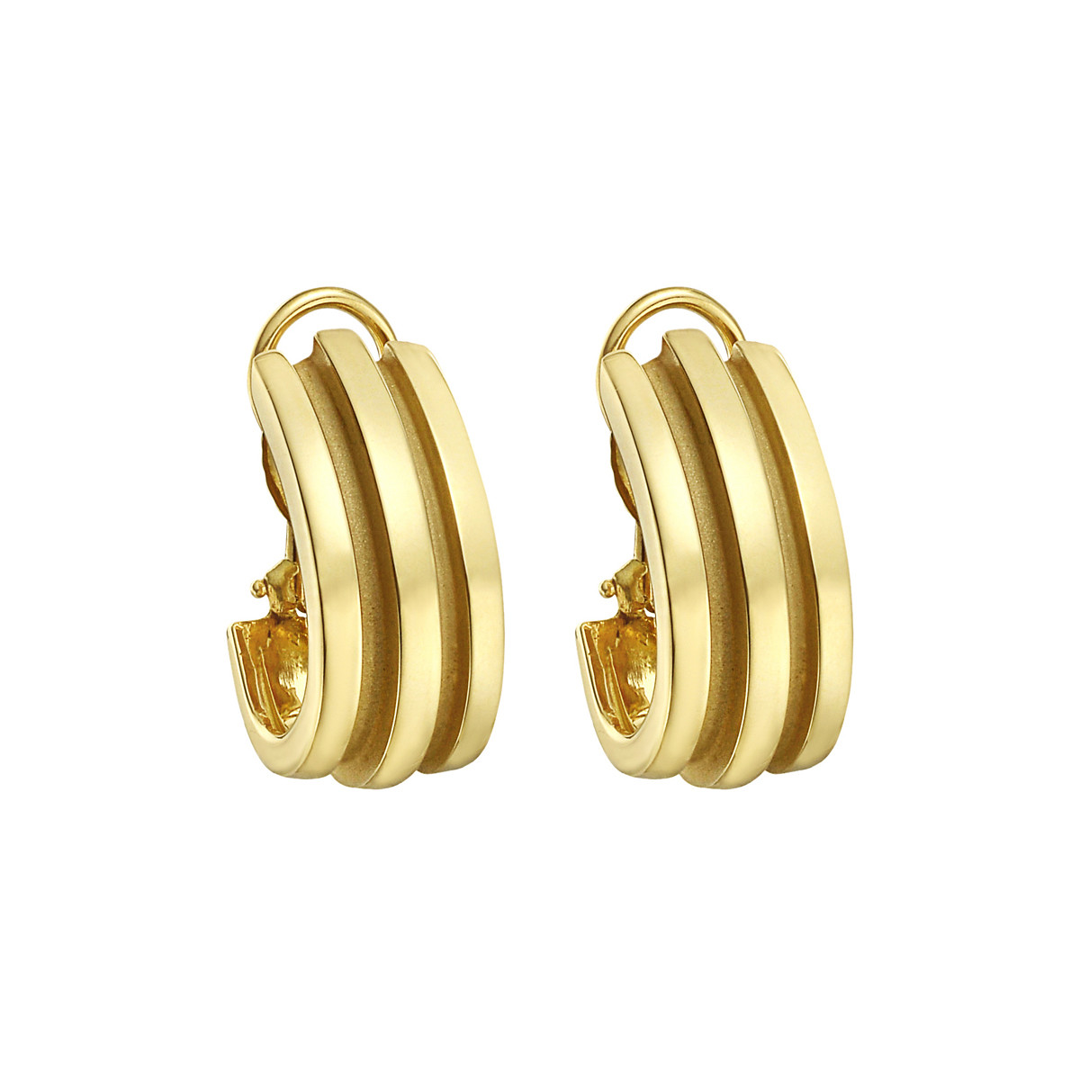 18k Yellow Gold Ribbed Half-Hoop Earclips