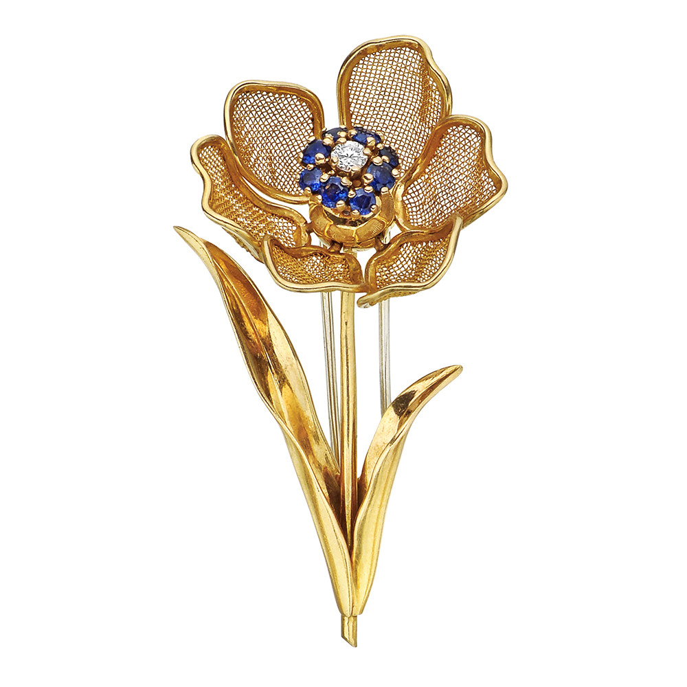 leaf diamond vintage three ebay gold brooch itm yellow cartier