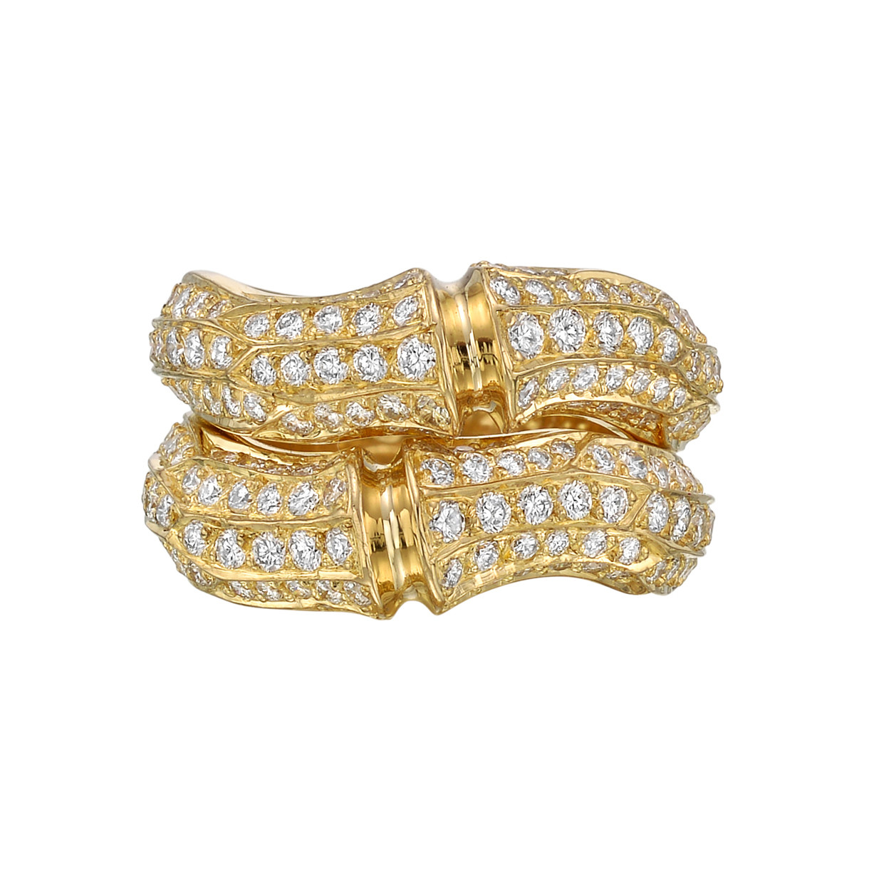 "18k Yellow Gold & Diamond ""Bamboo"" Wide Band Ring"