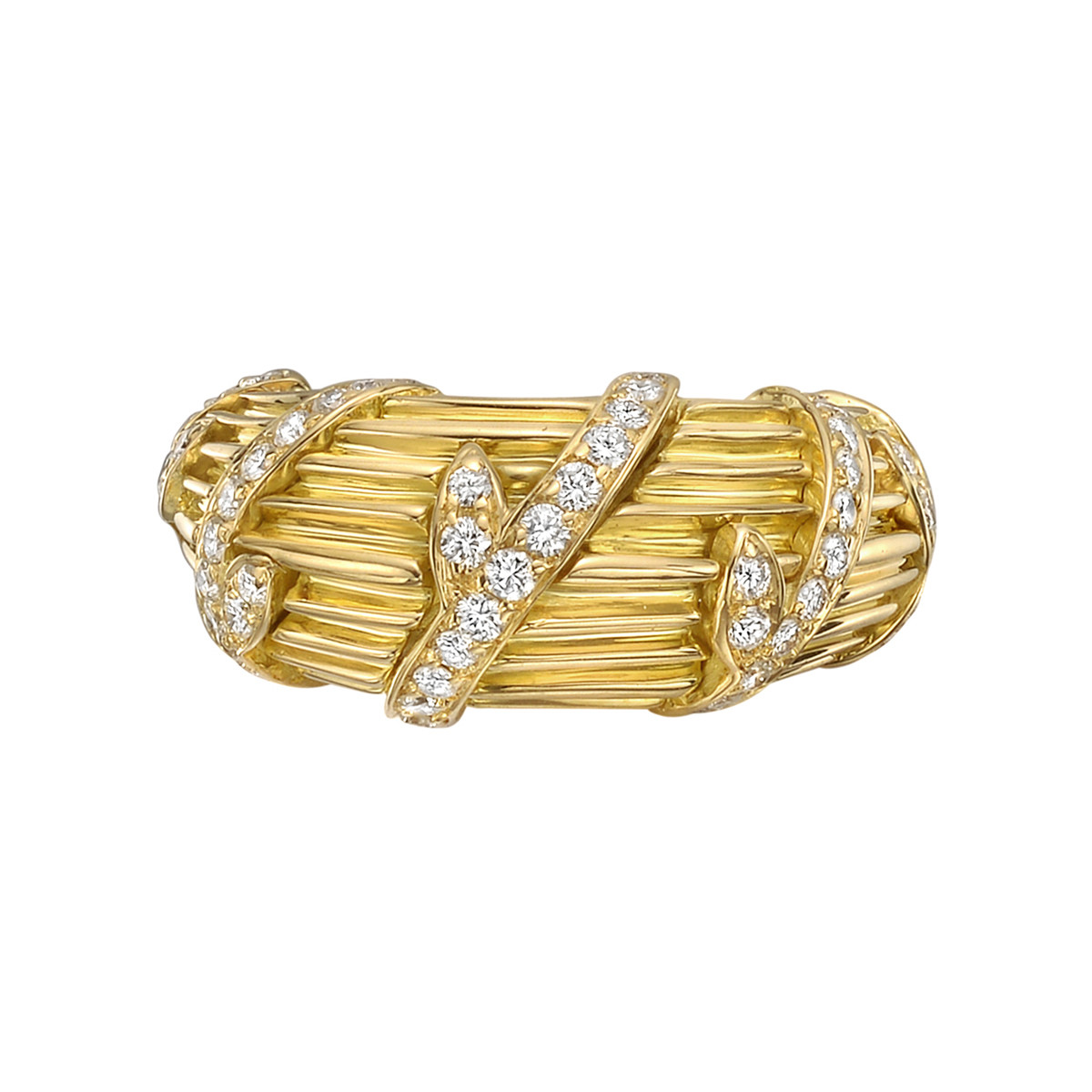 18k Yellow Gold & Diamond Vine Ring