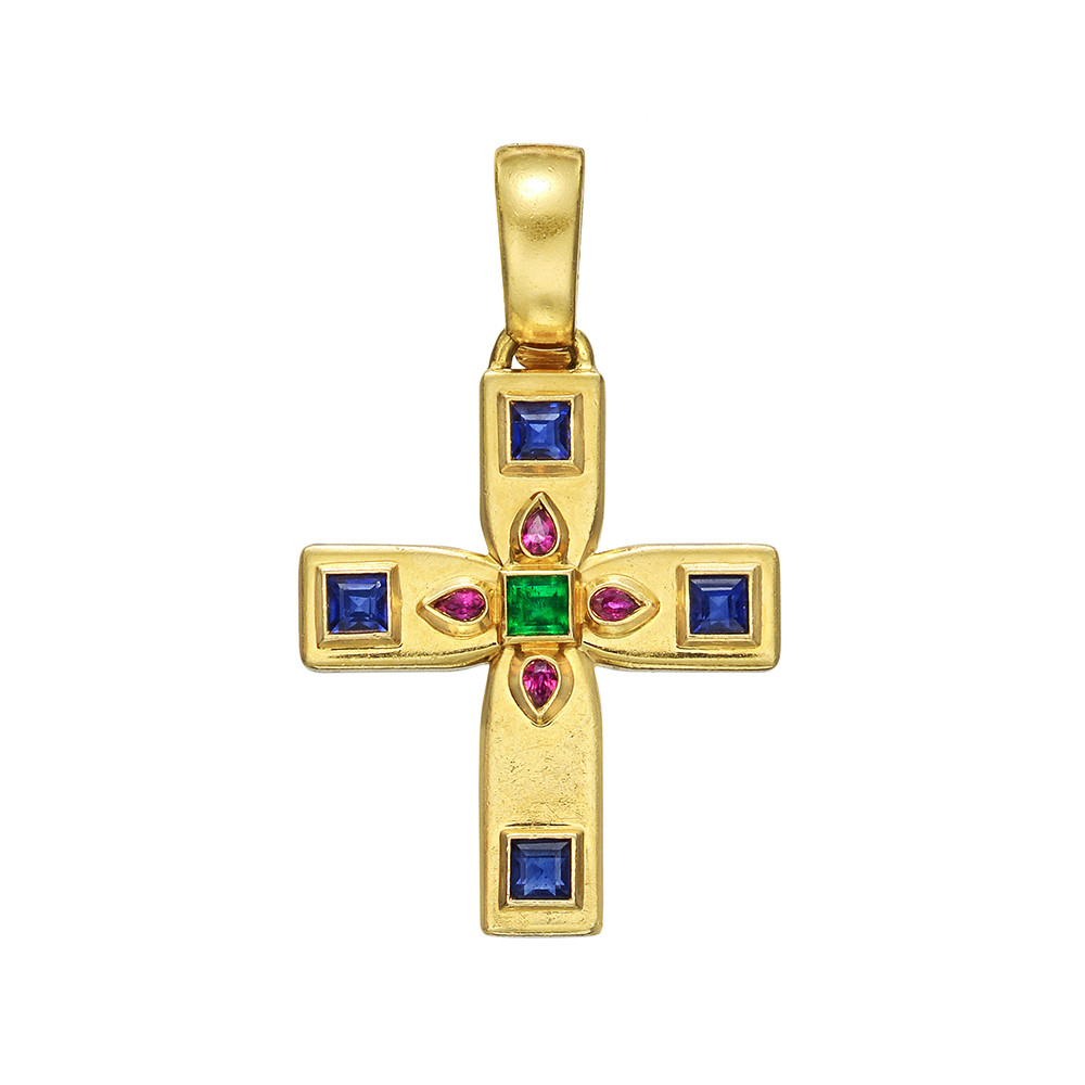 tiny yellow diamond cross solid pendant jewellery gold product square anma
