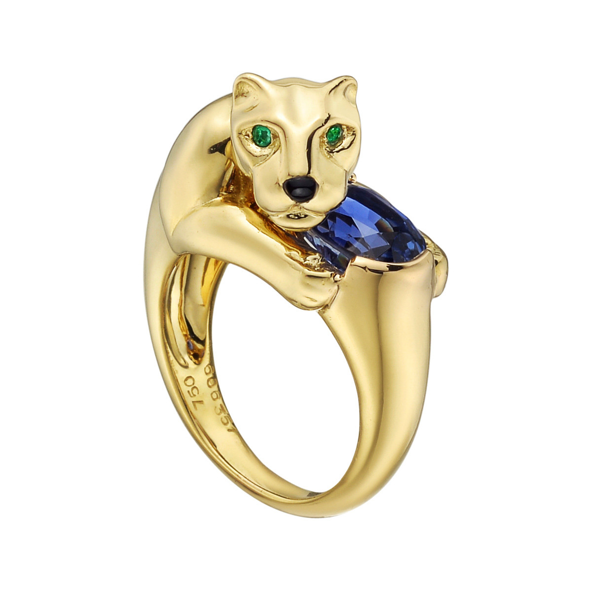 "18k Yellow Gold & Sapphire ""Panthère"" Ring"