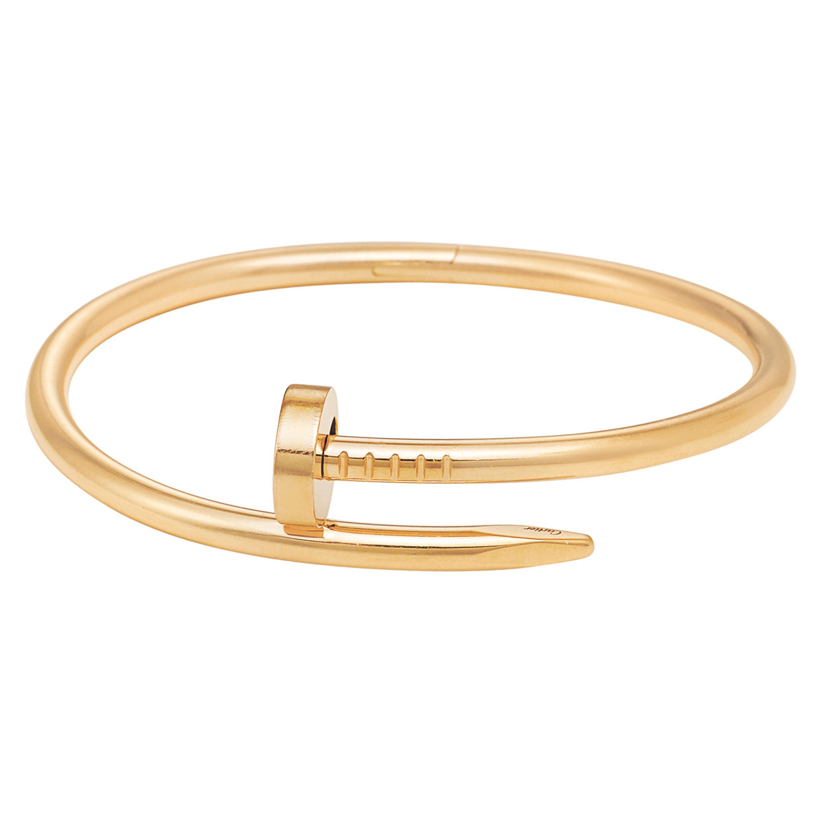 Juste Un Clou Nail Motif Bangle Bracelet In Polished 18k Yellow Gold Numbered Bbp059 Signed Cartier Hinged Tension Closure Size 16