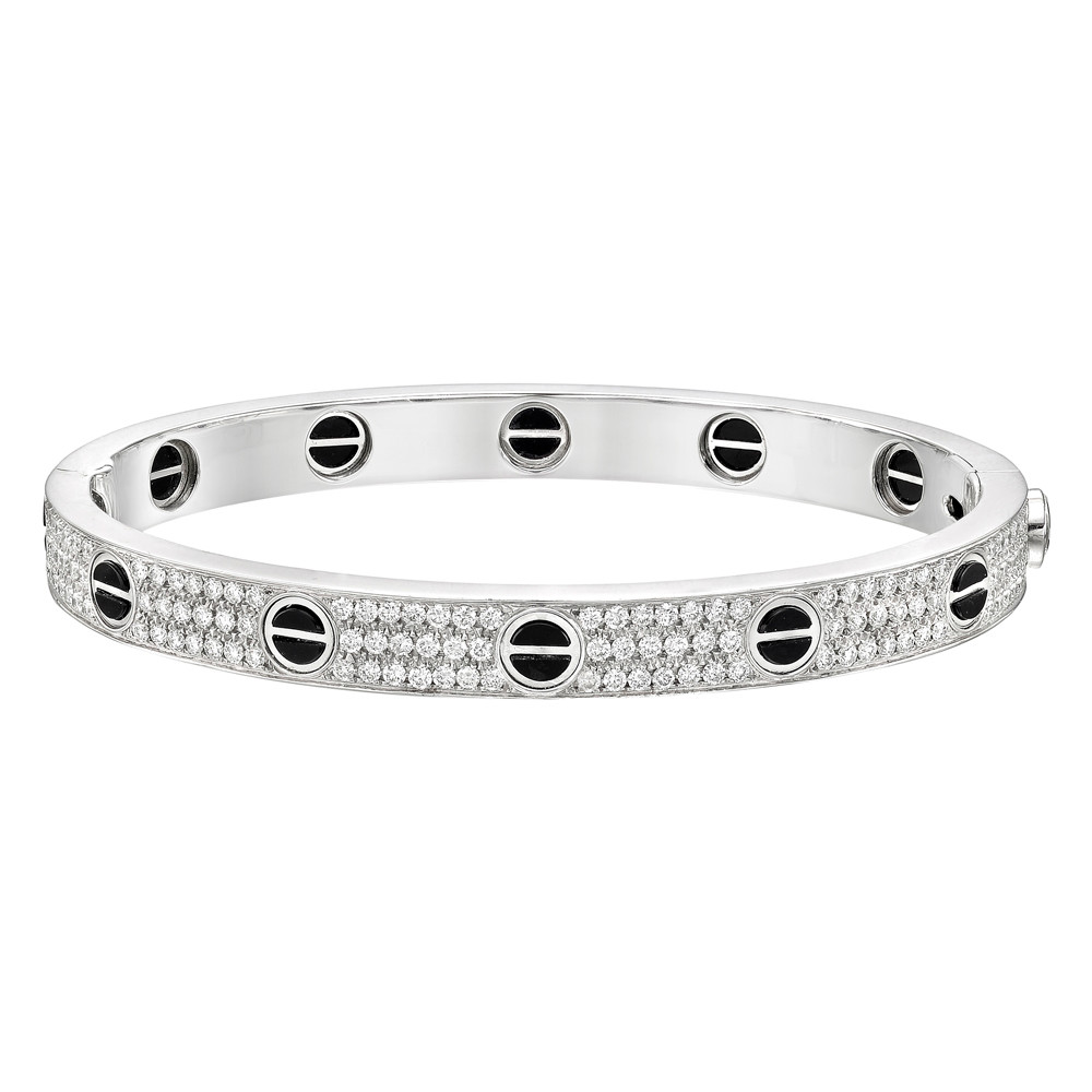 Love Bangle Bracelet Pavé Set With Round Diamonds Throughout Twelve Motifs Accented By Black Ceramic The Weighing Roximately