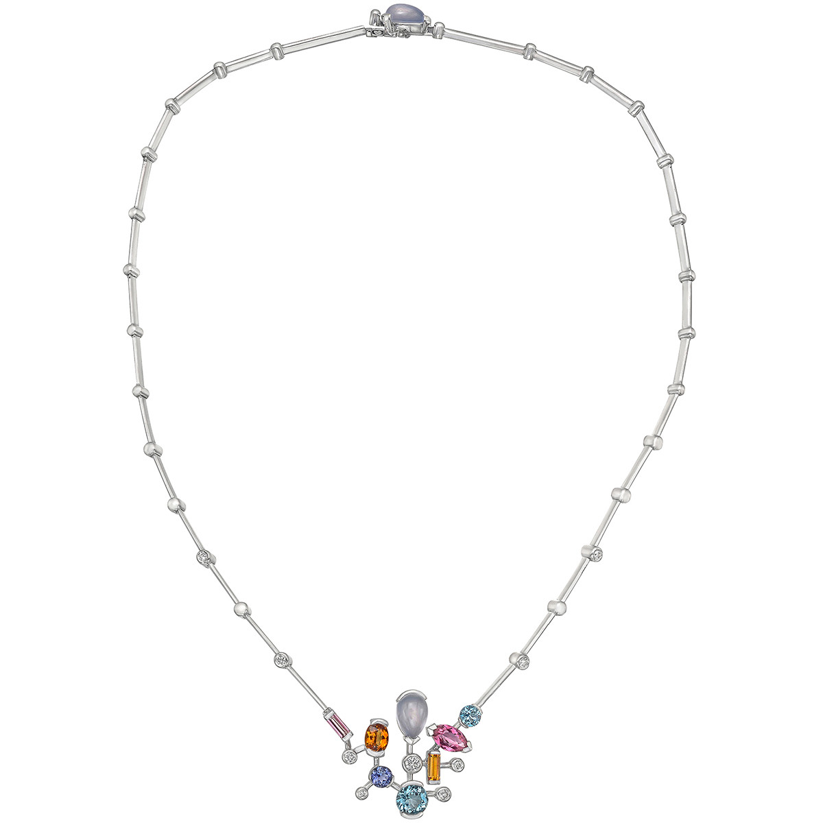 "Gem-Set ""Meli Melo"" Geometric Necklace"