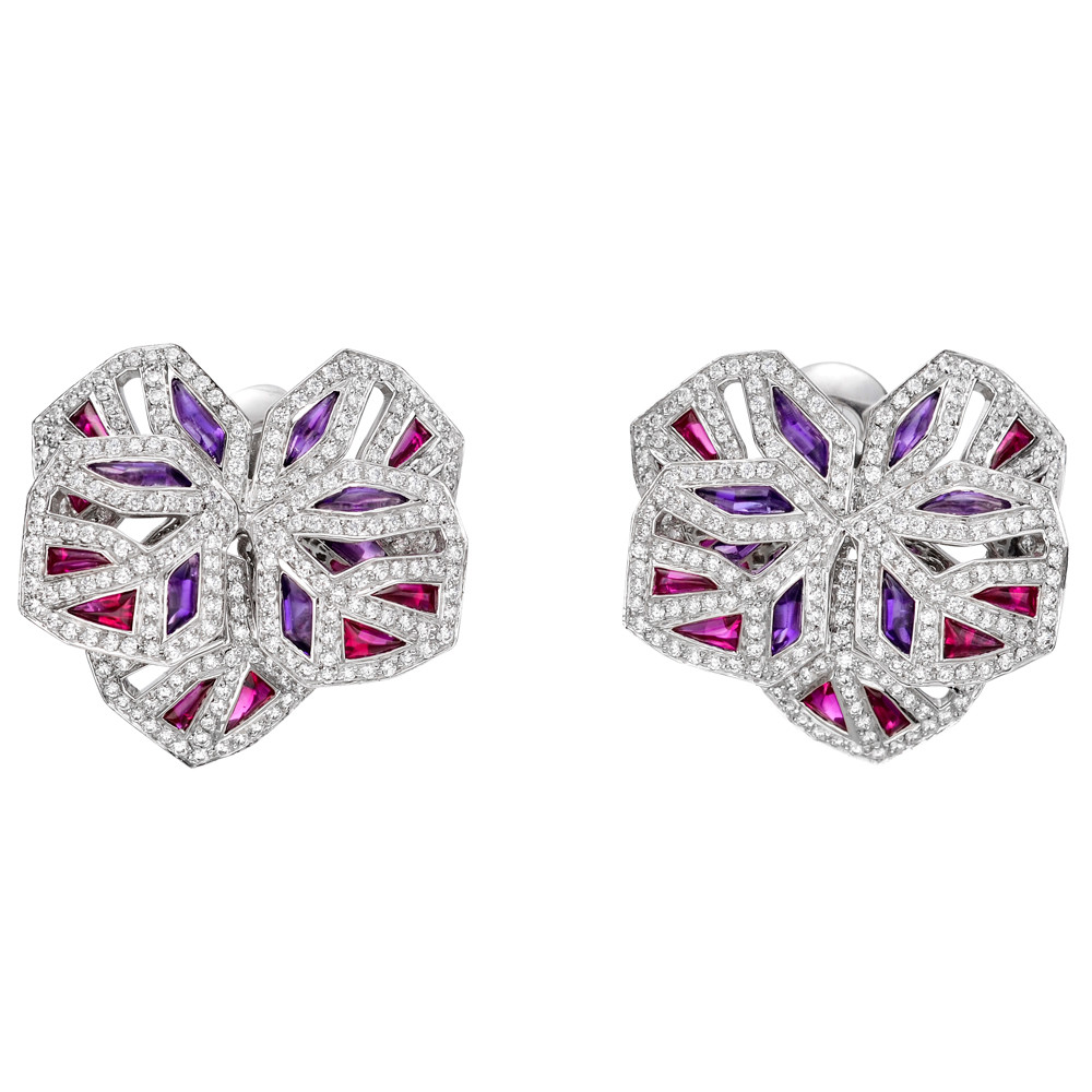 "Orchid Trellis New Diamontrigue Jewelry: Estate Cartier Diamond, Ruby & Amethyst ""Orchid"" Earrings"