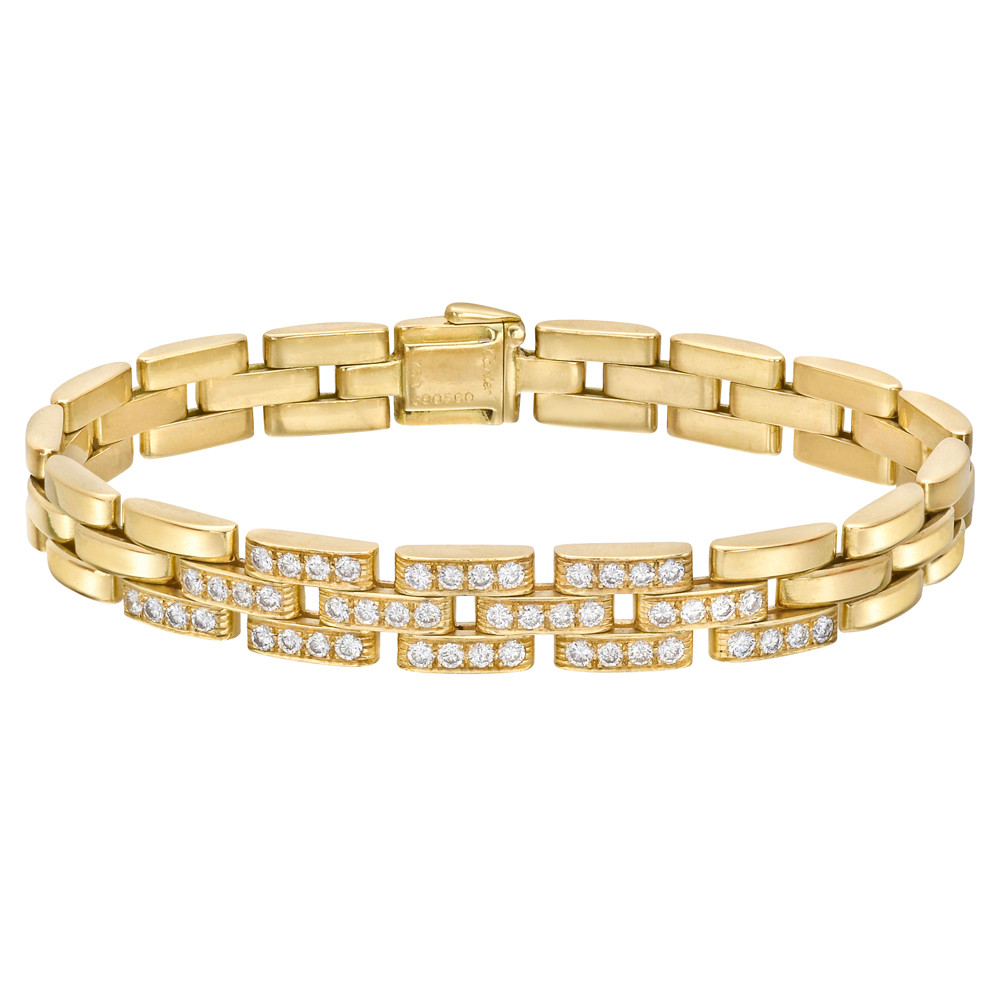 "18k Yellow Gold & Diamond ""Panthère Tyrana"" Bracelet"