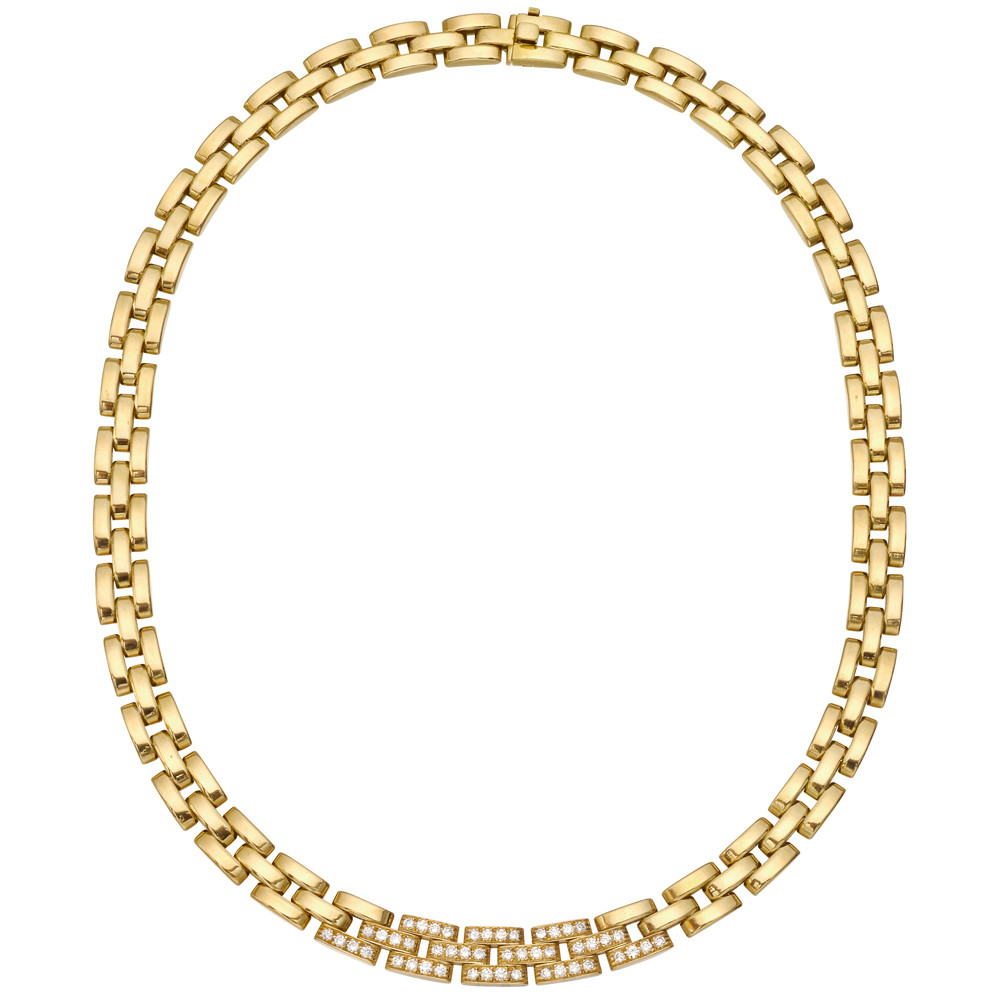 "18k Yellow Gold & Diamond ""Panthère Tyrana"" Necklace"