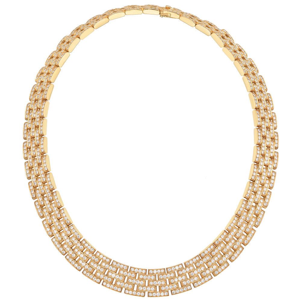 "18k Gold & Diamond ""Maillon Panthère"" Link Necklace"