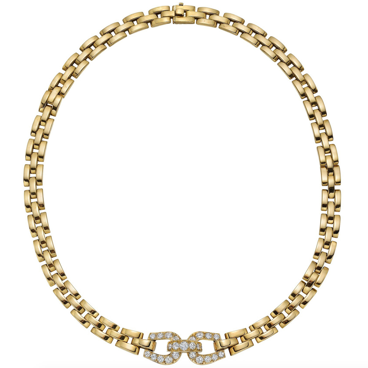 18k Yellow Gold Panthère Necklace with Diamond Buckle