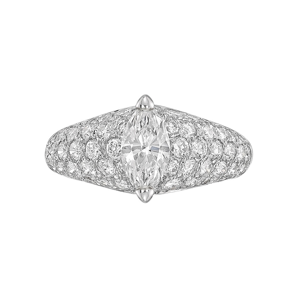 Marquise-Shaped Diamond Dome Ring