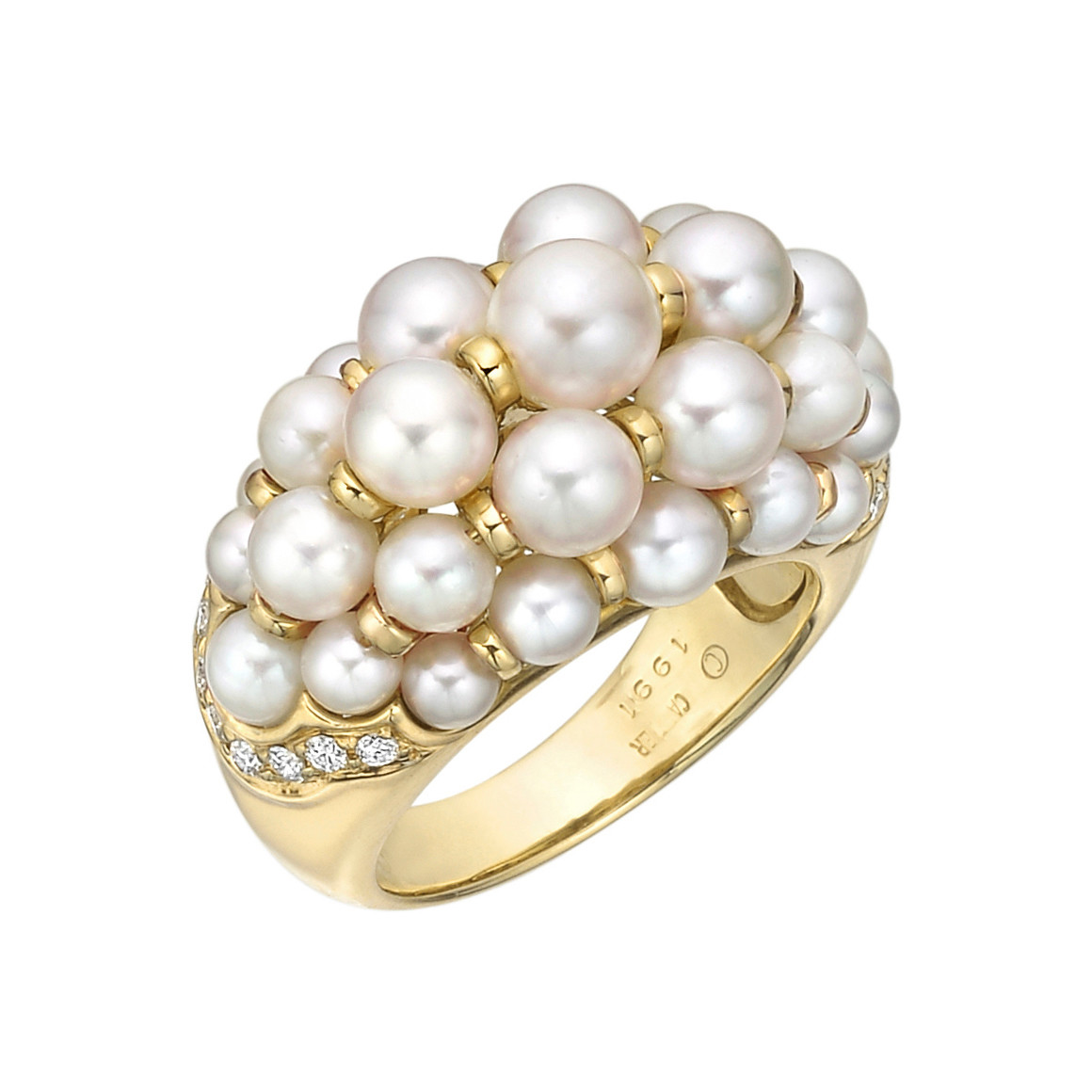 Pearl & Diamond Domed Cocktail Ring