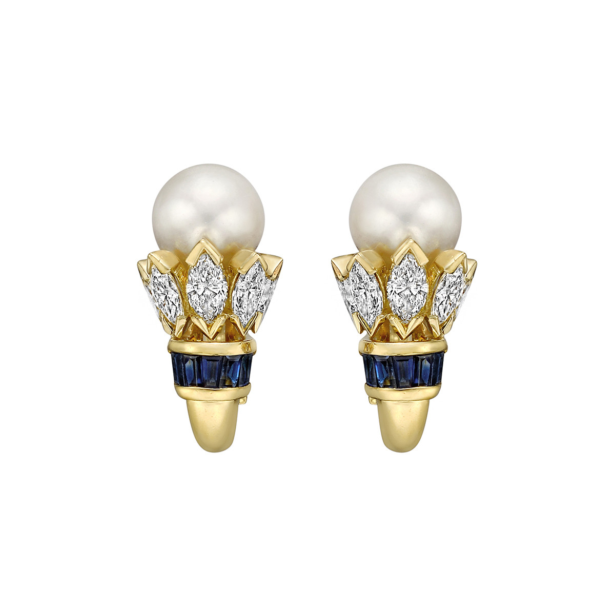 Pearl, Diamond & Sapphire Earrings