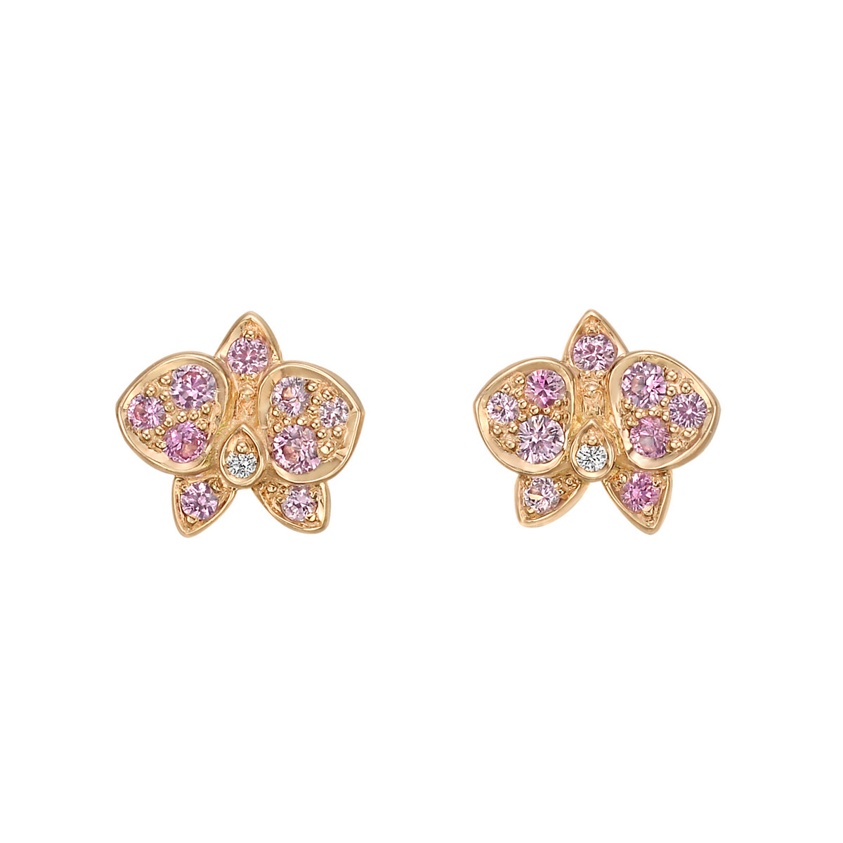 "Pink Sapphire & Diamond ""Caresse d'Orchidées"" Earrings"