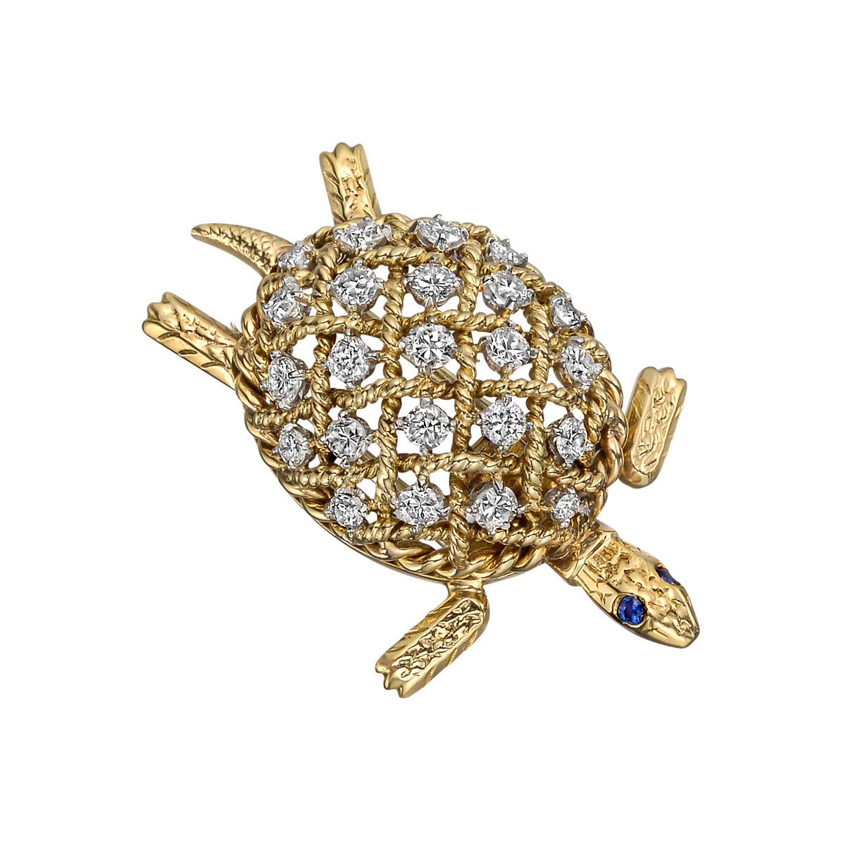 Retro 18k Yellow Gold & Diamond Turtle Pin