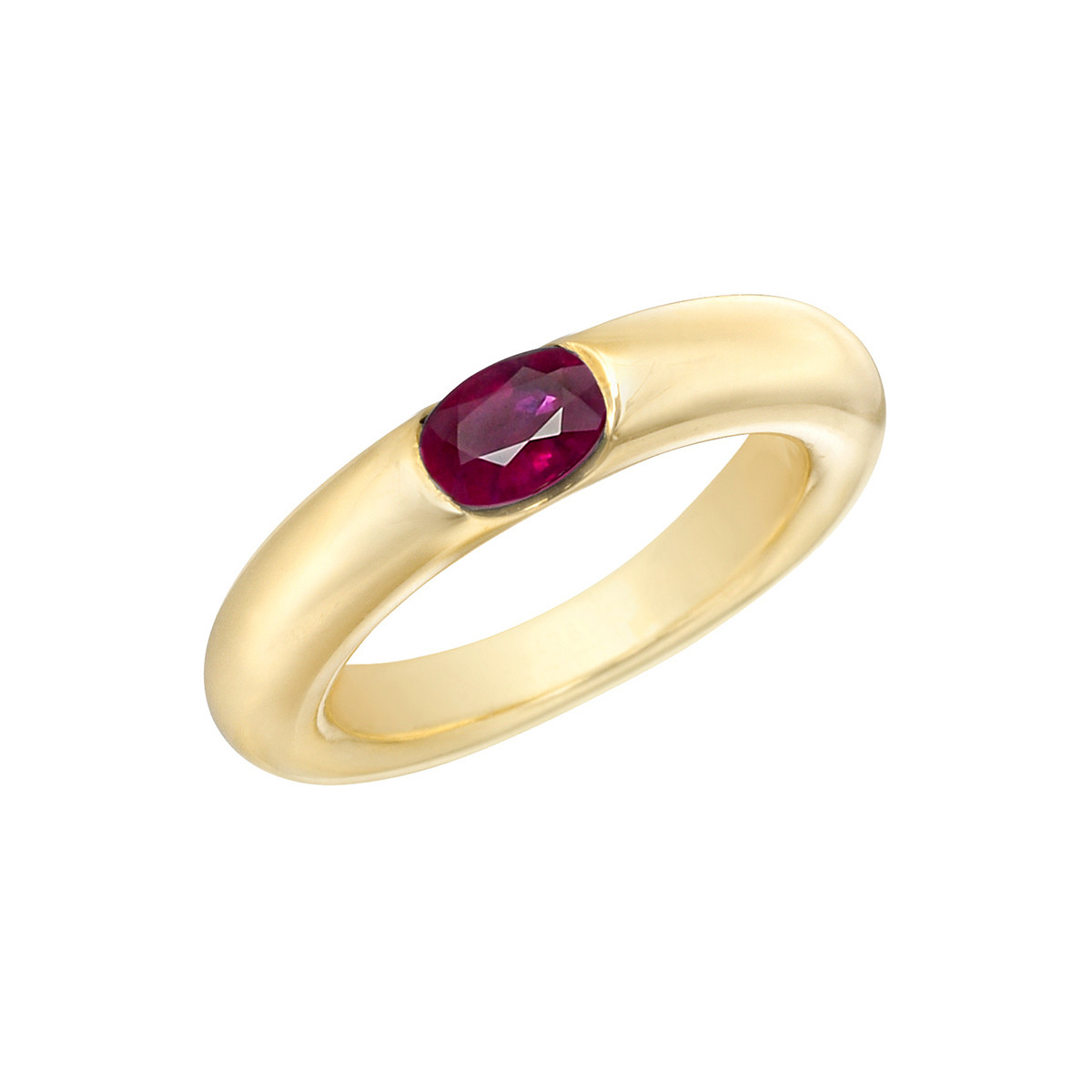 18k Yellow Gold & Ruby Gypsy Ring