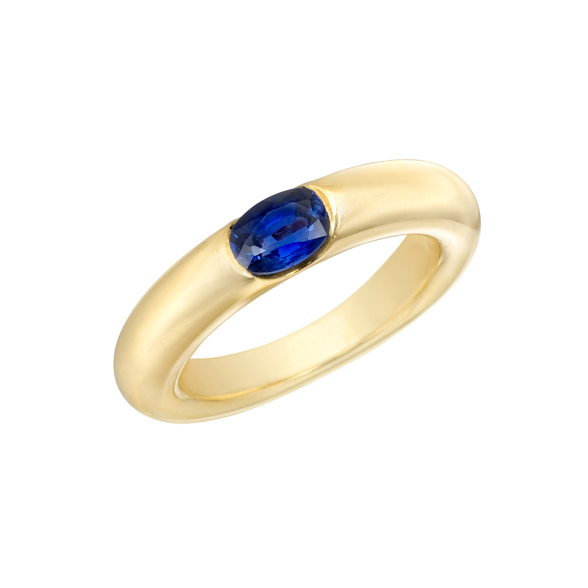 18k Yellow Gold & Sapphire Gypsy Ring