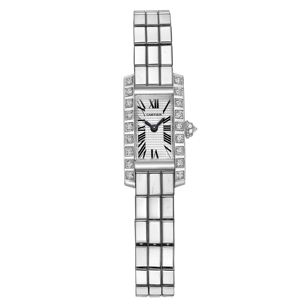 Tank Allongee Lanieres White Gold & Diamond (W15364W3)