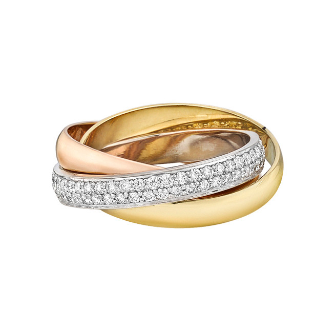 "Small 18k Tricolored Gold & Diamond ""Trinity"" Ring"