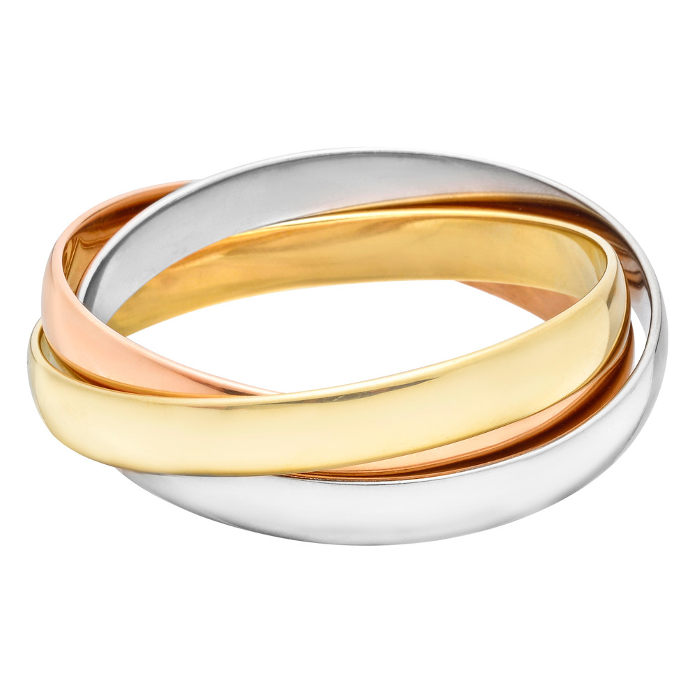 "Large 18k Tri-Colored Gold ""Trinity"" Bangle"