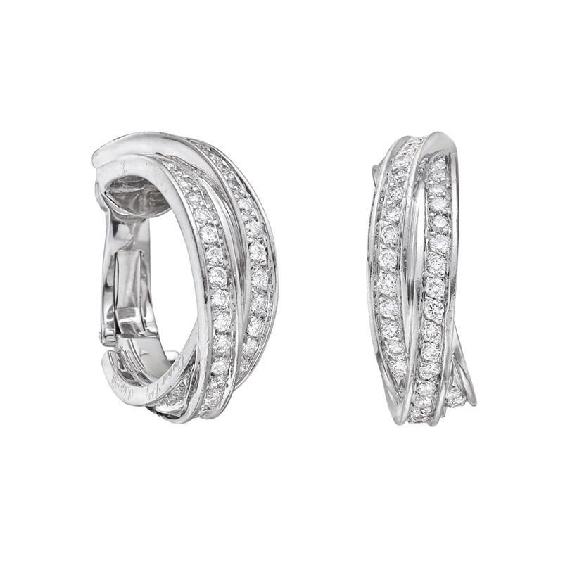 "18k White Gold & Diamond ""Trinity"" Hoop Earrings"