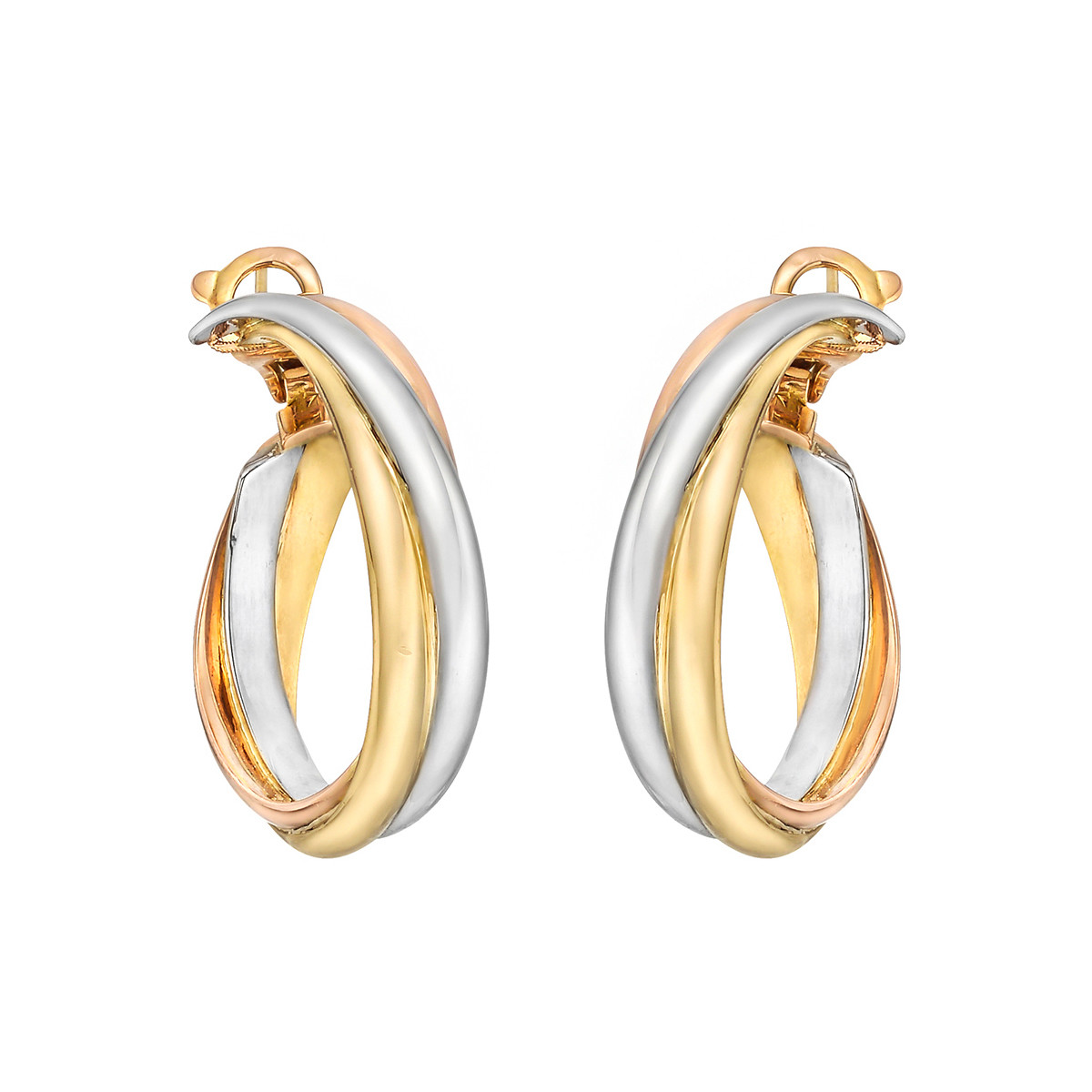 "18k Tri-Colored Gold ""Trinity"" Hoop Earrings"