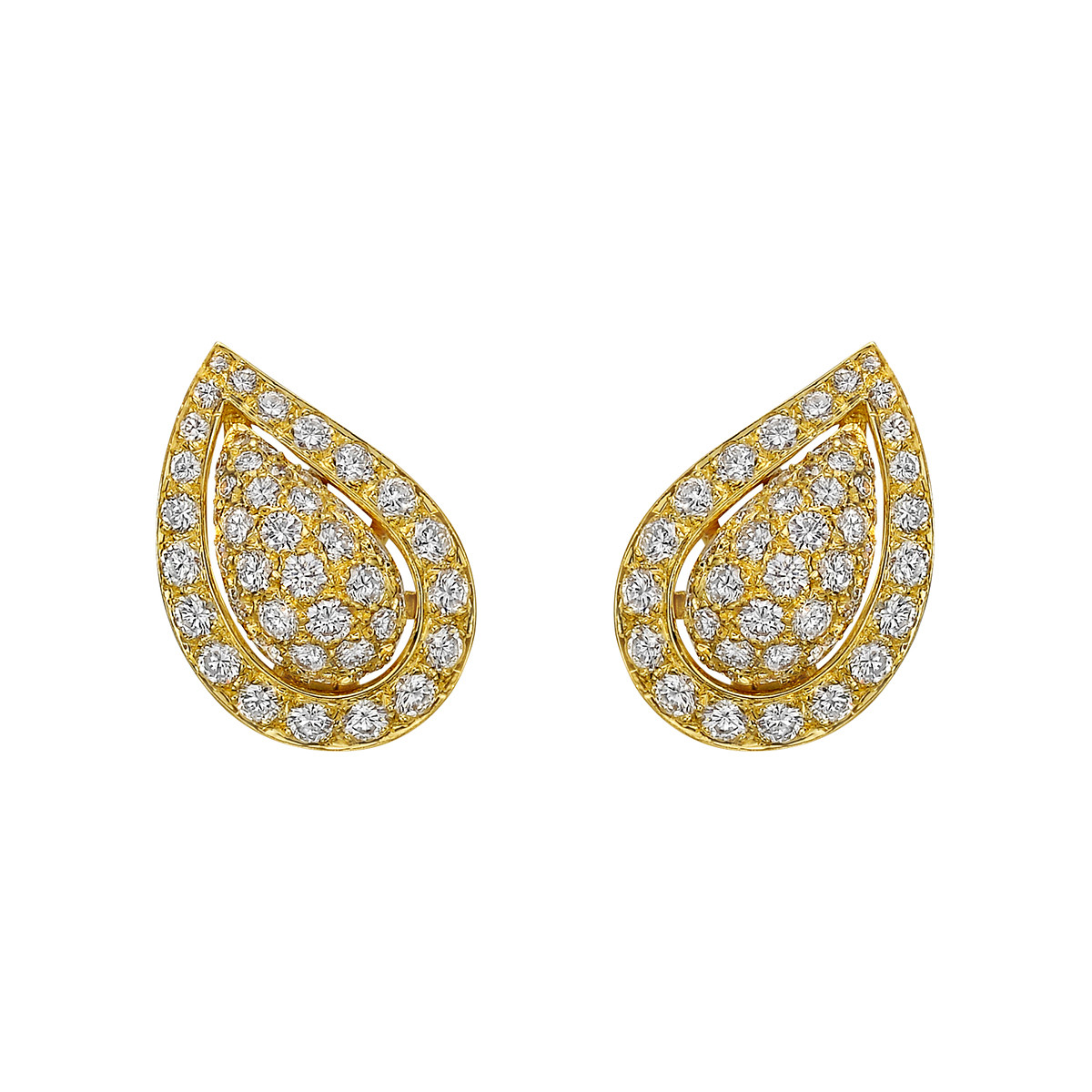 18k Yellow Gold & Diamond Teardrop Earclips