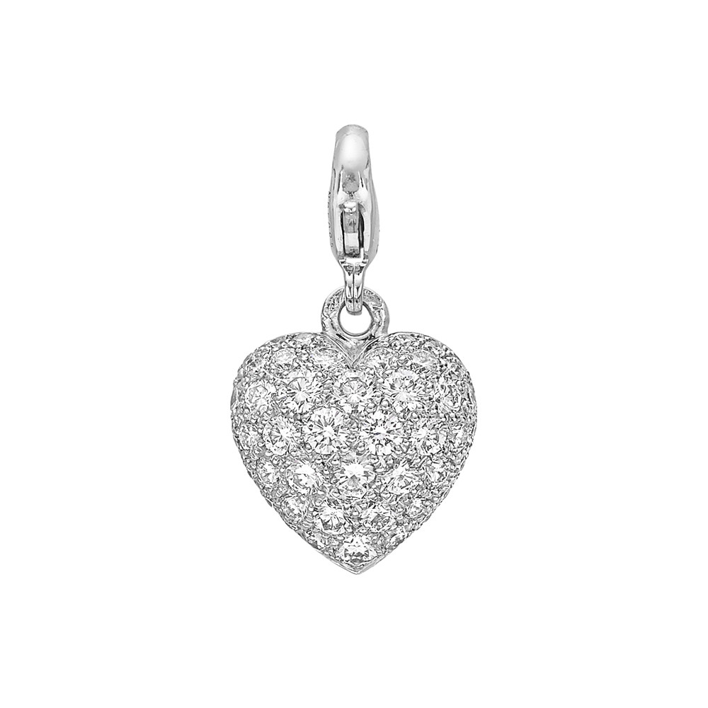18k White Gold & Diamond Heart Pendant/Charm