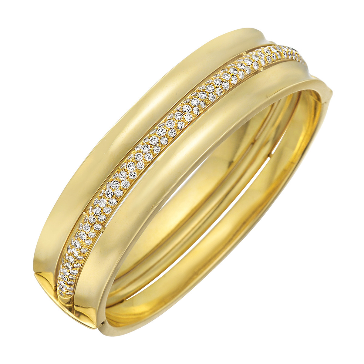 18k Yellow Gold & Diamond Bangle