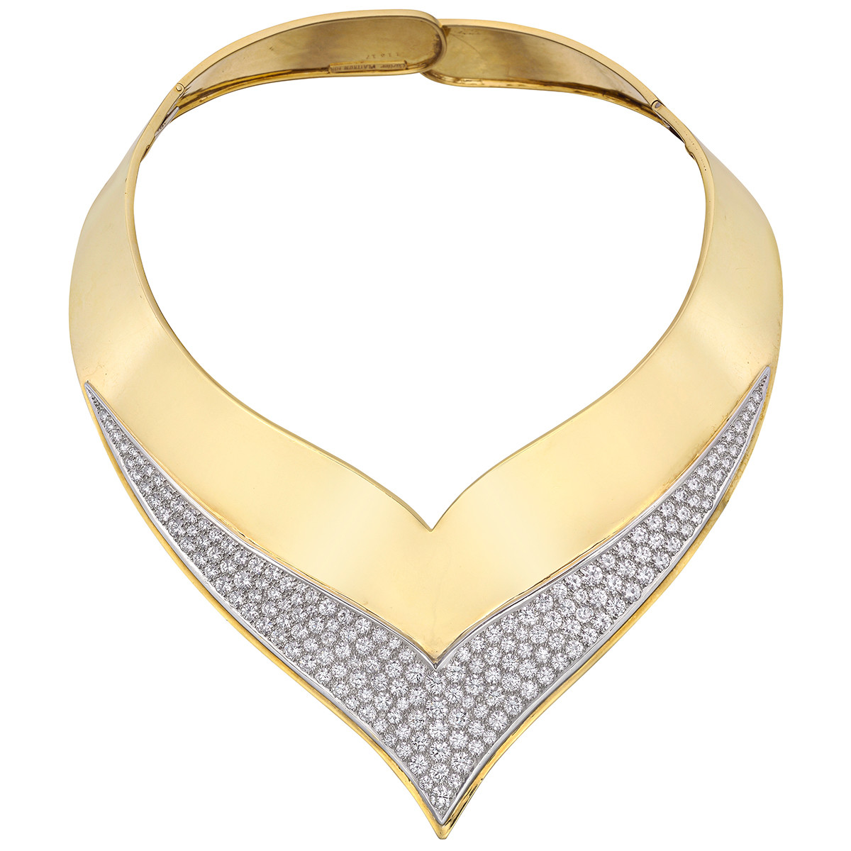 1960s 18k Yellow Gold & Diamond Collar Necklace