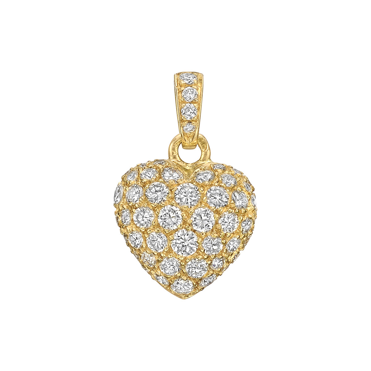 Estate cartier 18k yellow gold diamond heart pendantcharm 18k yellow gold diamond heart pendantcharm aloadofball Images