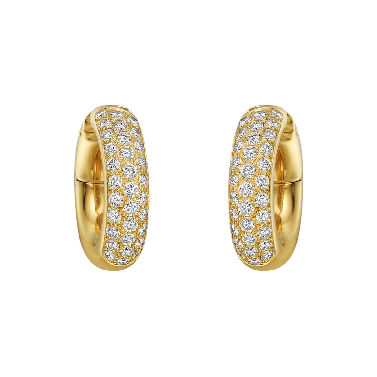 Small 18k Yellow Gold & Diamond Hoop Earrings