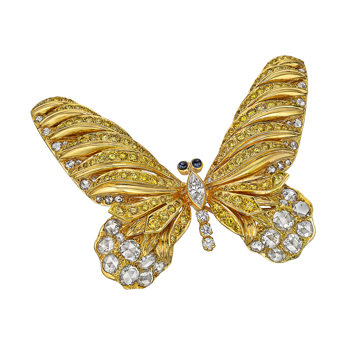 Yellow & White Diamond Large Butterfly Pin