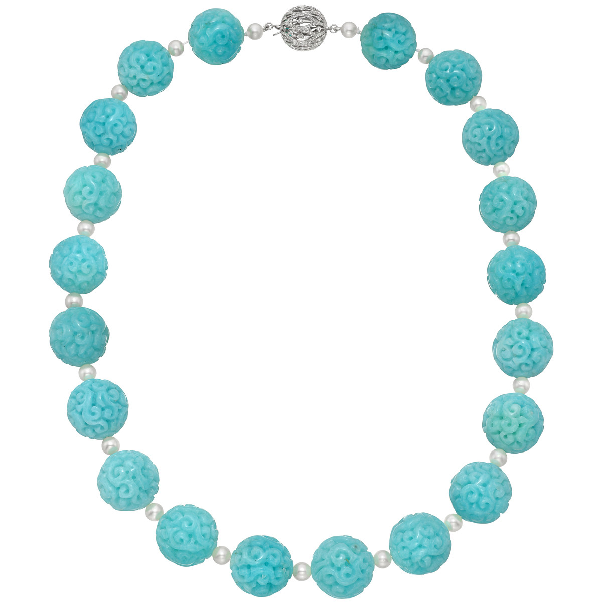 Carved Amazonite Bead & Pearl Necklace