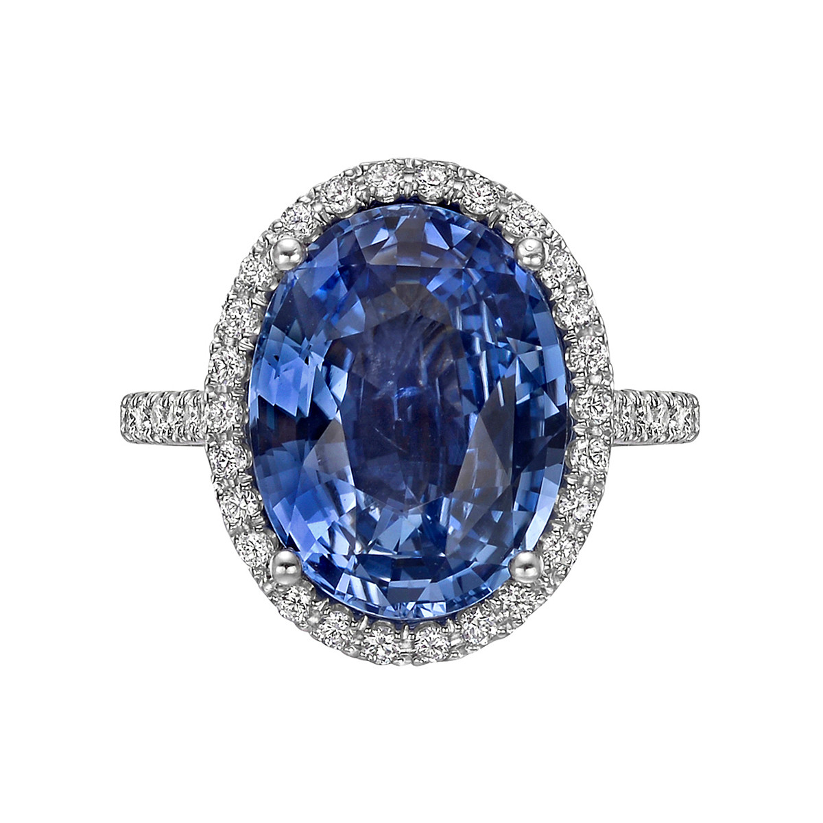 6.89ct No-Heat Sapphire & Diamond Halo Ring