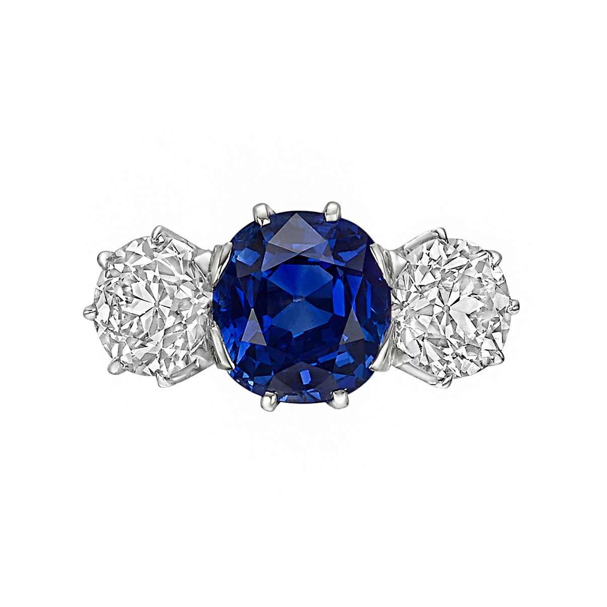 3.83ct Ceylon Sapphire & Diamond Three-Stone Ring