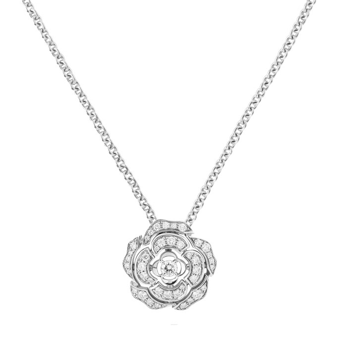 Small Diamond Bouton de Camélia Pendant Necklace