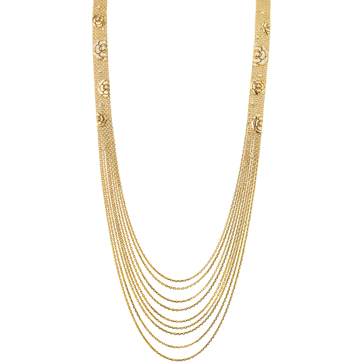 18k Yellow Gold & Diamond Camélia Sautoir Necklace