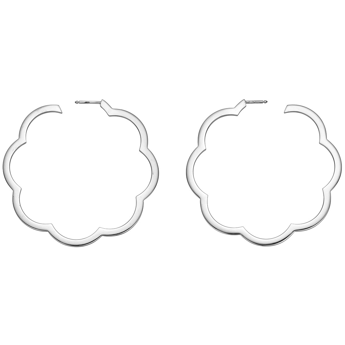 "18k White Gold ""Camellia"" Hoop Earrings"
