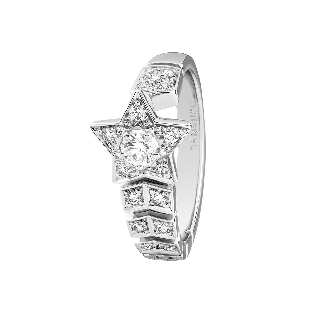 "Diamond ""Comète"" Chevron Shooting Star Ring"