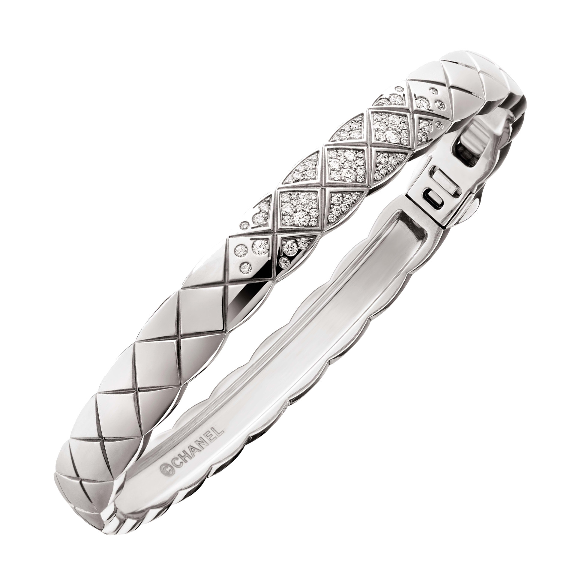 "18k White Gold & Diamond ""Coco Crush"" Bangle"
