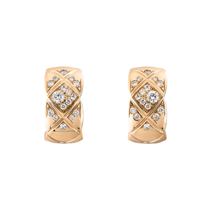 "18k Beige Gold & Diamond ""Coco Crush"" Earrings"