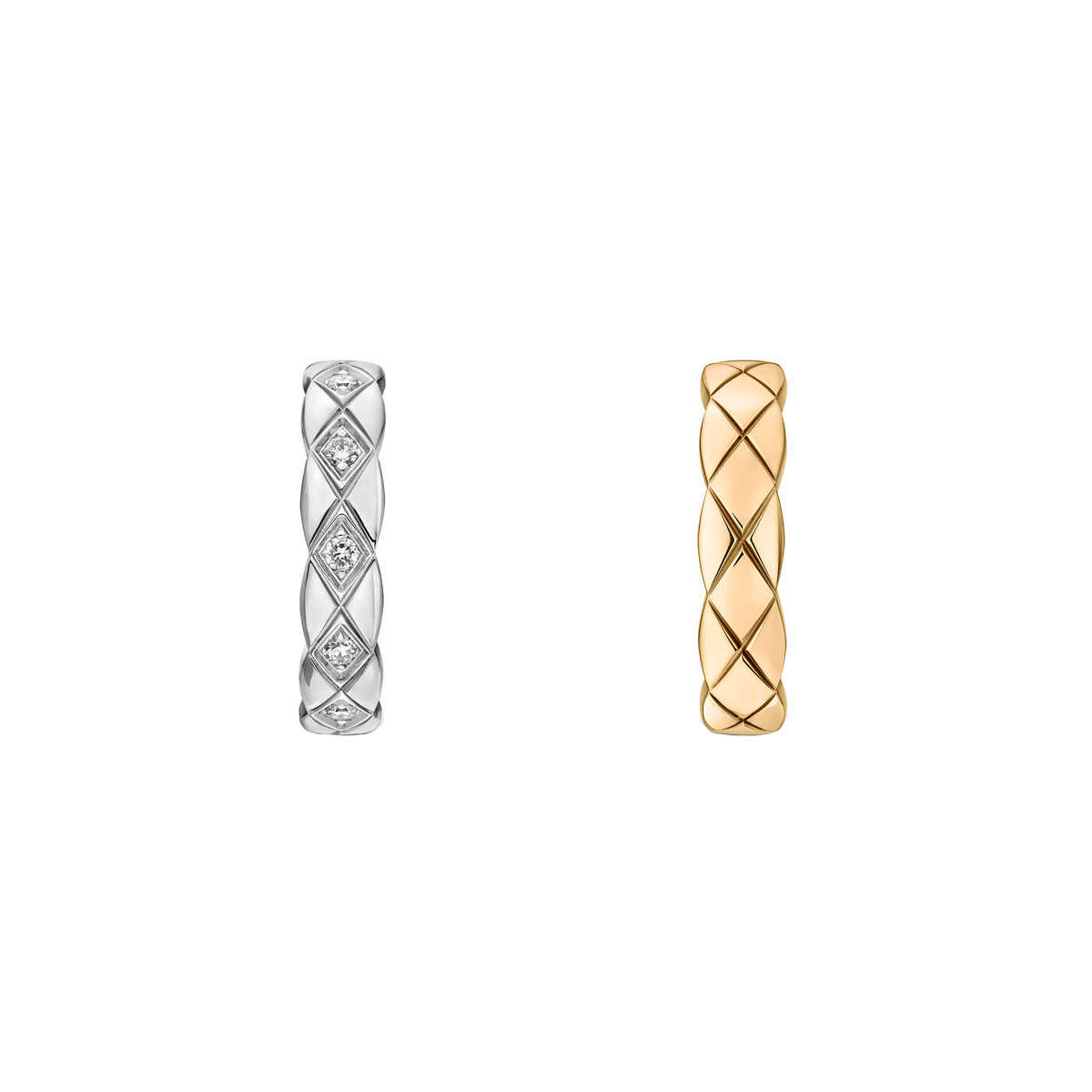 "18k White & Beige Gold ""Coco Crush"" Huggie Earrings"